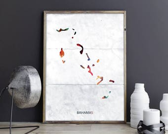 Bahamas Art Bahamas Wall Art Bahamas Wall Decor Bahamas Photo Bahamas Print Bahamas Poster Bahamas Map Country Map Watercolor Map Country