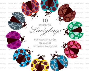 Colourful Ladybugs ~ d ~ clip art instant download