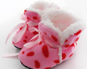 Pink Polka-Dotted Crib Shoes