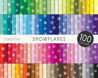Snowflakes digital paper 100 rainbow colors winter frozen background bright pastel printable scrapbooking paper