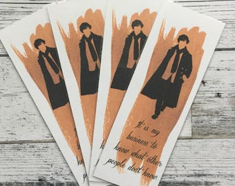 Sherlock Holmes quote inspired watercolor bookmark.
