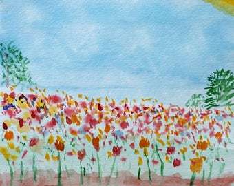 """40 Flowers Watercolor Painting 6x6"""" Canson paper"""