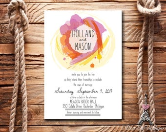 Watercolor Wedding Invitation Set, Postcard RSVP