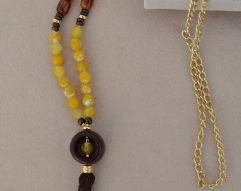 Necklace in natural stone with yellow faceted agate, agate Brown and wood.
