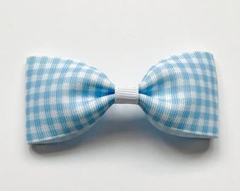 Light Blue Gingham Grosgrain Ribbon Medium Pinch Bow