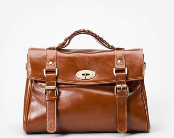 Retro Top Handle Bag with Removable Shoulder Strap in Premium Leather - By Mayer