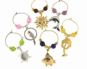 Tropical Drink Charms, Wine Glass Charms