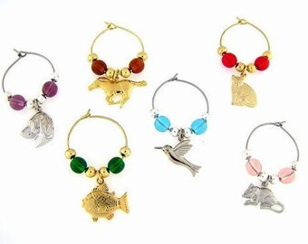 Pets Drink Charms, Wine Glass Charms