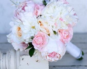 Silk Bride Bouquet Daisies Peonies Roses Rustic Chic Wedding