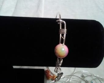 spring colors beaded adjustable bangle
