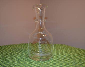 Vintage glass decanter bottle with etched sail ship vessel & birds