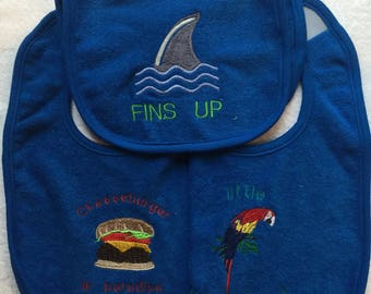 Embroidered baby bibs and burp cloths
