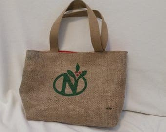 Up-cycled burlap coffee bean bag, tote, purse