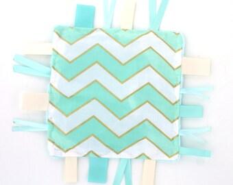Baby Ribbon Tag Blanket- Lovey  Sensory Baby Toy- Aqua Chevron