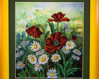 Beaded picture Field flowers poppies chamomile yellow frame decor gift beadwork embroidery bead art interior design decoration