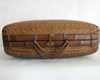Valise tressée en bambou - Suitcase woven bamboo
