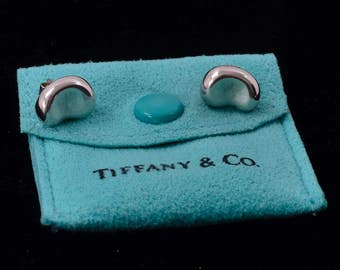 Authentic Tiffany & Co. Sterling Silver Elsa Peretti Bean Earrings