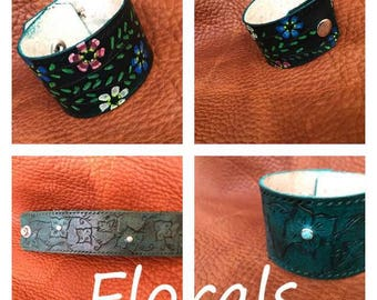 Floral Leather Cuffs
