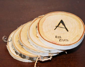 Monogrammed Birch Coasters (set of 5)