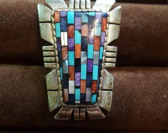 Vintage Sterling Silver Ring with Precious Stone Inlay -size 8