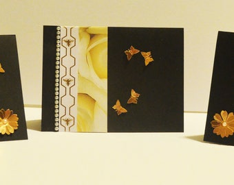 Elegant Everyday Blank Cards with Butterflies and Flowers Stationary Set