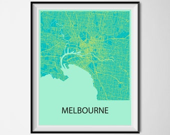 Melbourne Map Poster Print - Blue and Yellow