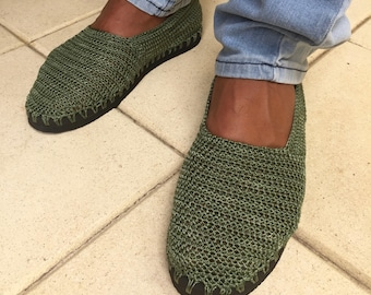 crochet espadrillas for man with rubber soles