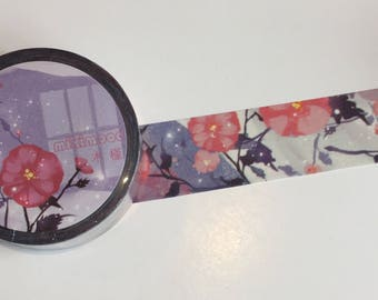 Wide Purple Floral Washi Tape