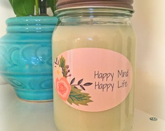 16oz. Hand Poured Soy Wax Candle | Happy Mind, Happy Life