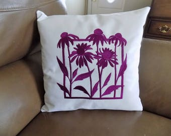 Coneflowers Silhouette Toss Pillow Cover