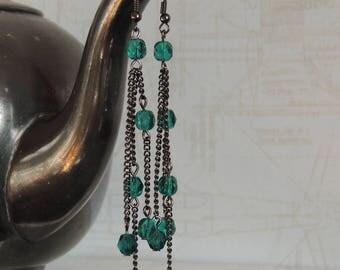 Long earrings with petrol glass beads