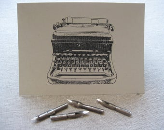 6 Handmade Antique Typewriter blank notecard set