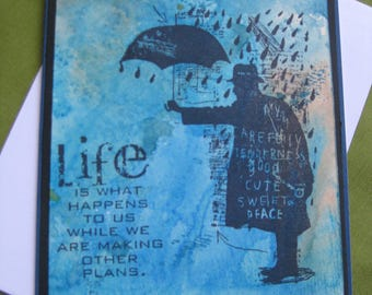 "Handmade Umbrella Man in Rain Card ""Life""- Watercolour"