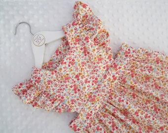 Girls winter Matilda Pinafore Dress, Floral cord, Girls winter clothes, Custom made