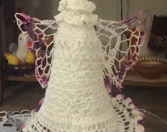Beautiful hand crocheted angel tree topper