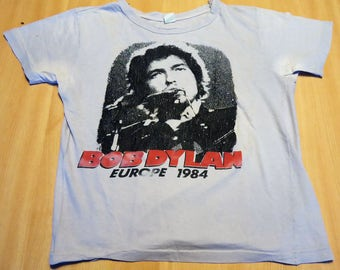 Bob Dylan : Europe 1984 vintage T-Shirt - Special guest Santana .