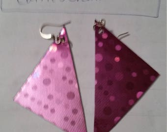 shiny pink duct tape earrings