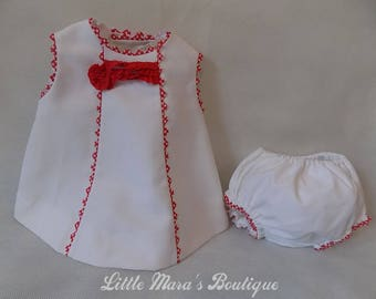 Unique white pique dress with matching nappy covers