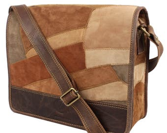 Roma Patchwork Messenger Bag Hand Patched Up-cycled Genuine Leather