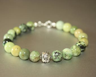 Bracelet - Australian Jade Chrysoprase natural stone 8mm bracelet with sterling silver beads and clasps