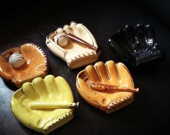 Vintage baseball glove ashtrays