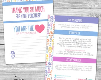 Dreamcatcher Design | Double Sided Thank You Note and Care Instructions Card | Size 5 x 7 | Personalized