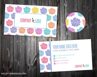 Roses Design | Double Sided Business Card | Standard Size 3.5 x 2 | Personalized