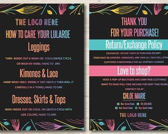 Floral Chalkboard Care Card | Lula Business Cards | Chalkboard | Black Lula | Personalized