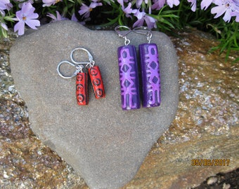 2 Pairs Polymer Clay Primitive Style Earrings Purple, Red, Black, Barrel Shaped Tribal Leverback Free U.S. Shipping (E1004)