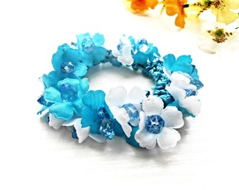 Hair Scrunchie Cotton Flower Blossom Embroidery Crochet White Blue Floral Ponytail Holder Glass Pearls Accessories Elastic Wrap Hair Ties