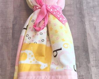 Patchwork Blanket, Polka Dot Blanket, Pink  Blanket, Giraffe Baby Blanket, Faux Quilted  Blanket, Crib Blanket, Baby Girl Gift, Shower Gift