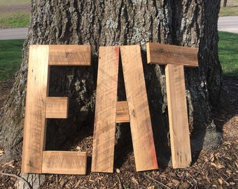 Rustic Barnwood EAT sign