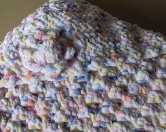 Hand made hooded baby blanket