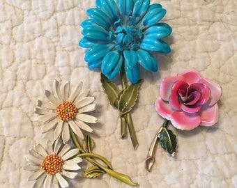 Sweet Bouquet of Vintage Enamelled Metal Flower Brooches -3 Pins! ART